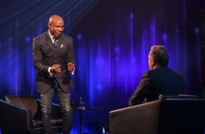 Chris Eubank shows Piers Morgan some of his boxing moves on Life Stories (Credit: ITV1)