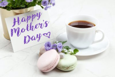 coffee and macaroons for Mother's Day