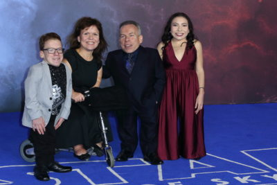 Warwick Davis and his family, including twi children