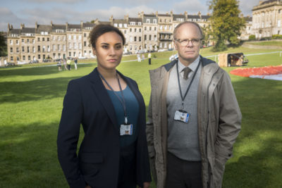 Jason Watkins as DS Dodds and Tala Gouveia as DCI Lauren McDonald in McDonald & Dodds (Credit: ITV1)