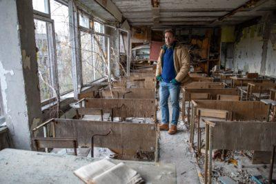 Ben Fogle inside the ruins of a school in Pripyat (Credit: Channel 5)