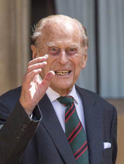 Prince Philip waving to cameras