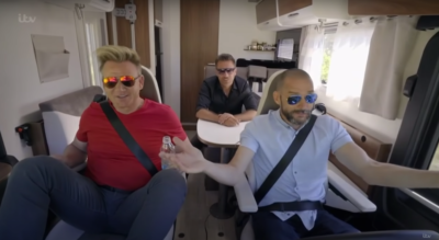 Gordon Ramsay, Gino D'Acampo and Fred Sirieix on a road trip