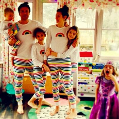 Jamie Oliver wears matching pyjamas with his family