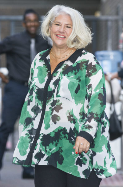 Actress Denise Black is pictured leaving the ITV studios following a guest appearance on the Lorraine show (Credit: Splash)