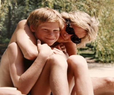 princess Diana cuddling prince harry