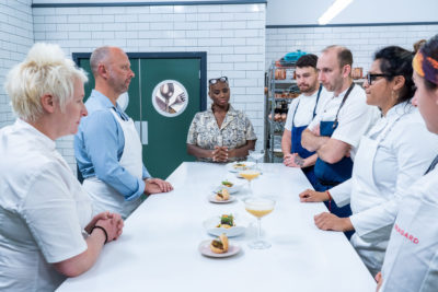 Lisa Goodwin-Allen with the competitors on Great British Menu (Credit: BBC Two)