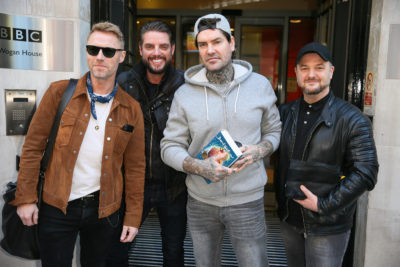 Boyzone visiting BBC Radio Two Studios to promote their new album and perform live on the show (Credit: Splash)