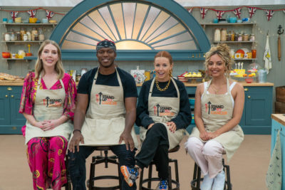 Katherine Ryan, JJ, Stacey Dooley and Jade Thirlwall all take past in Celebrity Bake Off (Credit: Channel 4