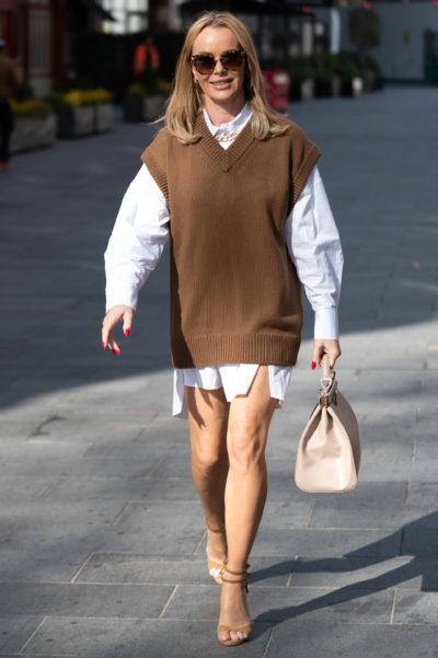 Amanda holden in a short shirt dress for work