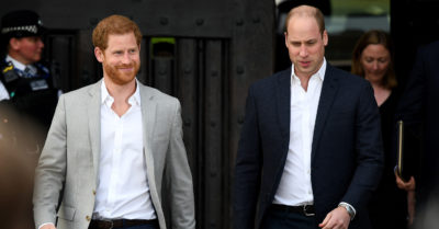 Prince William and Prince Harry go on a walkabout in Windsor the day before the Royal wedding