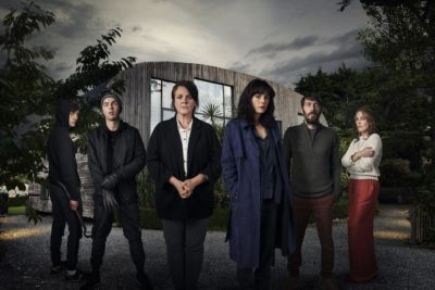 The cast of Intruder, including Tom Meeten as Sam (Credit: Channel 5)