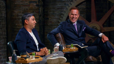 Tej and Peter enjoy a bit of banter on Dragons' Den (Credit: BBC One)