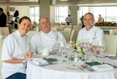 Emily Roux, Albert Roux and Michel Roux Jr in the Chez Roux restaurant (Credit: Jonathan Stewart For The Jockey/Shutterstock)