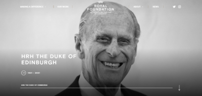 William and Kate pay tribute to Philip on website
