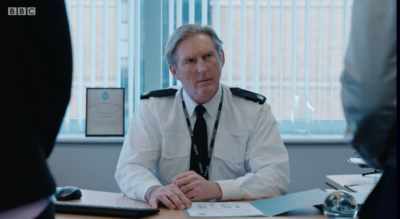 Ted Hastings Line Of Duty looks shocked at the revelation