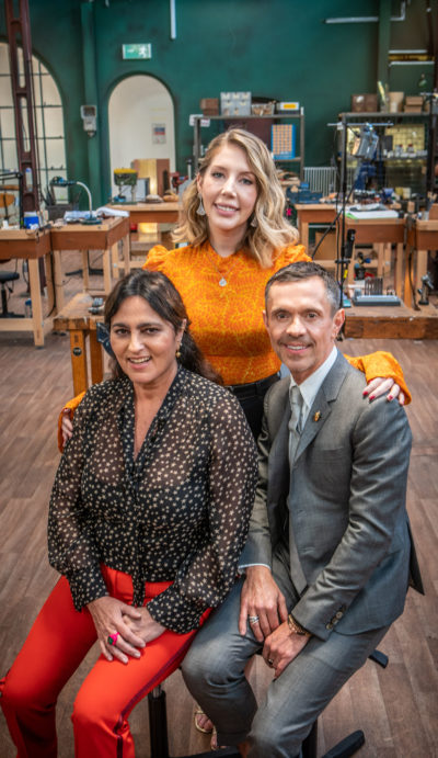 All That Glitters: Britain's Next Jewellery Star judges Shaun Leane and Solange Azagury-Partridge with host Katherine Ryan (Credit: BBC Two)