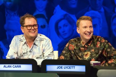 Joe Lycett is a regular on panel game shows, seen here with Alan Carr (Credit: Channel 4)