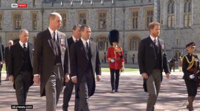 William and harry at funeral