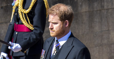 Prince Harry at Prince Philip funeral