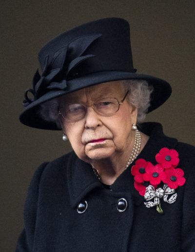 the queen wearing black