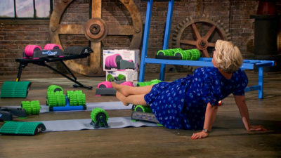 Sara Davies tries out the BackBaller product (Credit: BBC One)