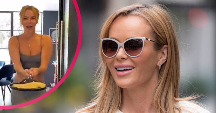Amanda Holden flips pancakes in her kitchen