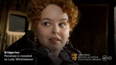 Penelope is revealed as Lady Whistledown (Credit: Netflix/Virgin Media BAFTAs)