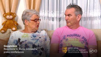 Gogglebox's Lee and Jenny weren't impressed with Boris Johnson ((Credit: C4/Virgin Media BAFTAs)