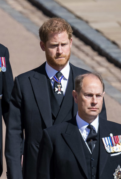 Prince Harry at Prince Philip's funeral