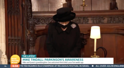 the queen at Philip's funeral