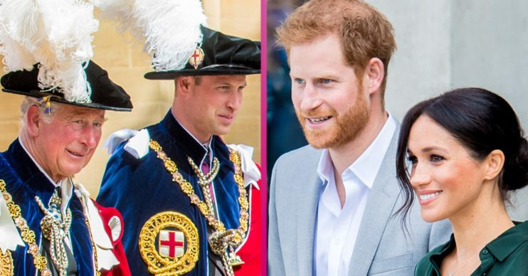 Prince William and Prince Charles, Prince Harry and Meghan Markle