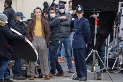 Harry Styles and David Dawson spotted filming My Policeman in Brighton (Credit: Splash)