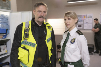 Julian Barrett and Lucy Punch appear in Bloods (Credit: Sky One)
