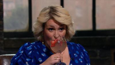 Sara Davies enjoys a gin on the job (Credit: BBC One)