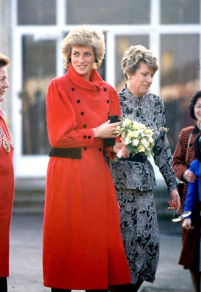 princess Diana in a red coat