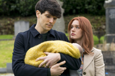 Colin Morgan as Jonathan and Amy James Kelly as Hannah in Three Families (Credit: BBC One)