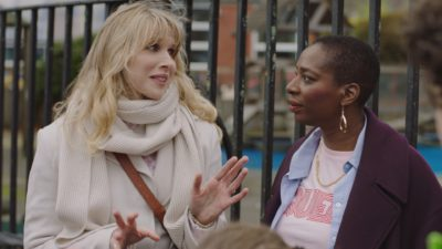 Lucy Punch as Amanda and Tanya Moodie as Meg in Motherland (Credit: BBC One)