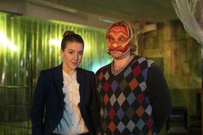 Gemma Whelan as Columbina and Kevin Bishop as Arlo (Credit: BBC Two)