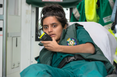 Aasiya Shah portrays a fiercely ambitious trainee paramedic in Bloods (Credit: Sky One)