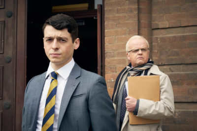 Anthony Boyle as Brian Wood, and Toby Jones as Phil Shiner in Danny Boy (Credit: BBC Two)
