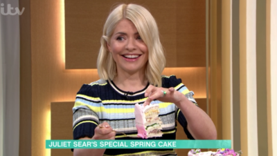 Holly Willoughby and the sandwich cake on This Morning