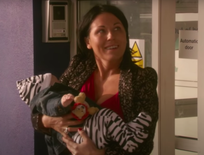 Kat Slater and baby Tommy in EastEnders