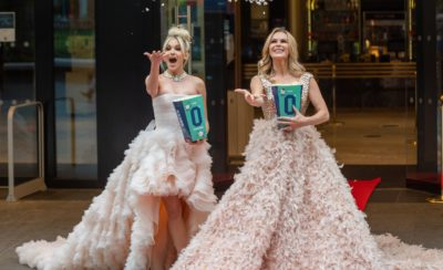 Amanda Holden and Ashley roberts throw popcorn in the air