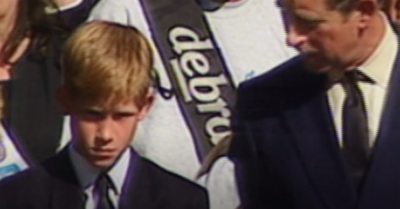 Young Prince Harry at Princess Diana's funeral