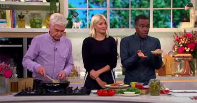 Liam Charles demonstrating a recipe on This Morning