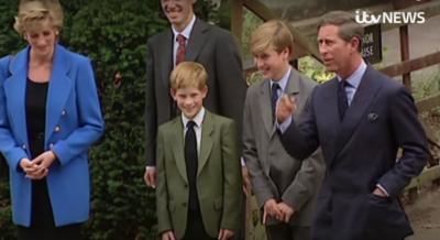 Royal family members Princeess Diana, Prince Harry, Prince William and Prince Charles (