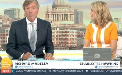 Richard Madeley on GMB says he was due to fill in for Piers Morgan for two months before he quit