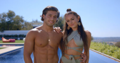Kem and Amber in happier times on Love Island UK