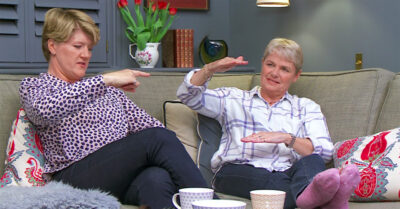 Clare Balding and wife on Celebrity Gogglebox 2021